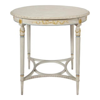 Early 20th Century Vintage French Louis XVI Style Round Center Table For Sale