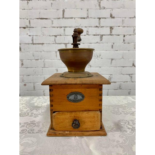 Metal Vintage Wood and Metal Coffee Grinder For Sale - Image 7 of 7