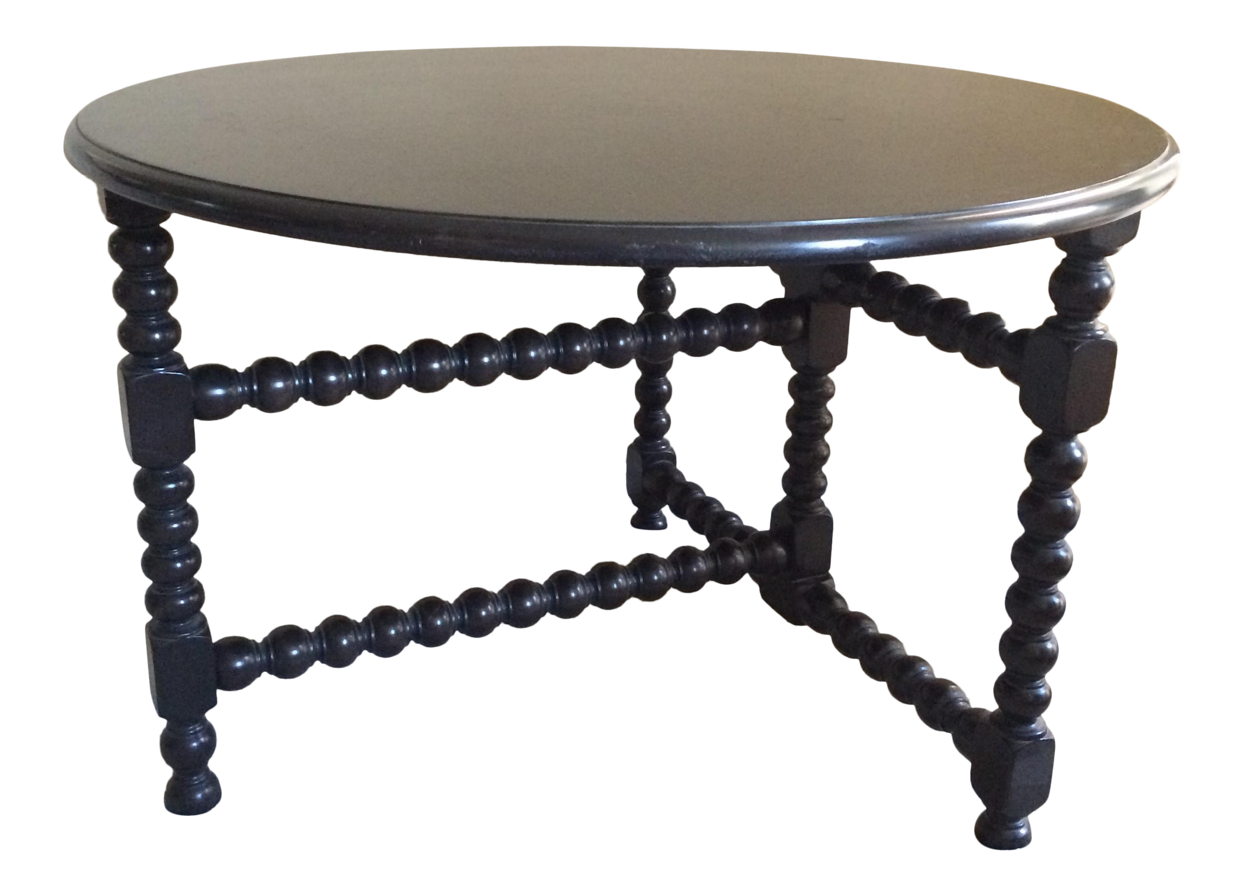 Large Round Bobbin Leg Side Table