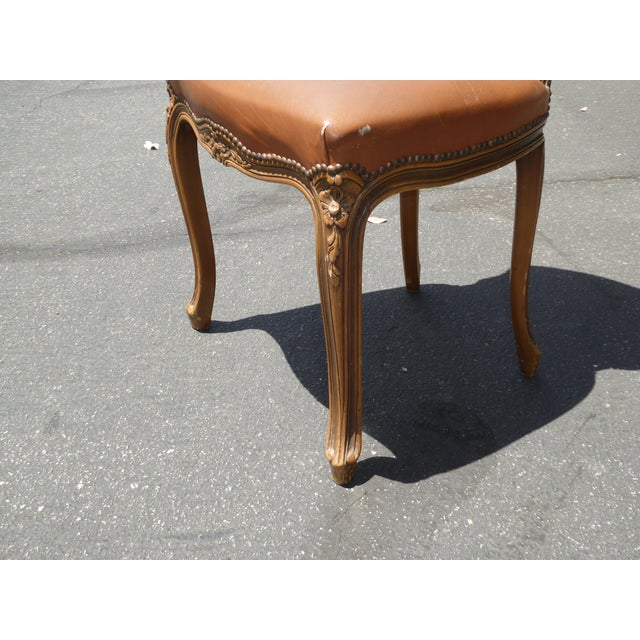 French Provincial Style Brown Leather Accent Chair For Sale - Image 10 of 11
