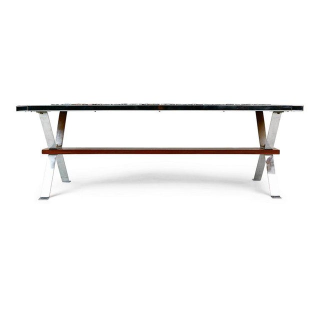 Italian Chrome and Ceramic Tile Top Coffee Table, Signed, Circa 1960 For Sale - Image 4 of 6