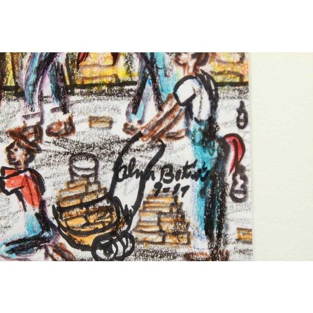 Figurative Vintage Alvin Batiste Outsider Art Southern Pencil & Ink Drawing For Sale - Image 3 of 6
