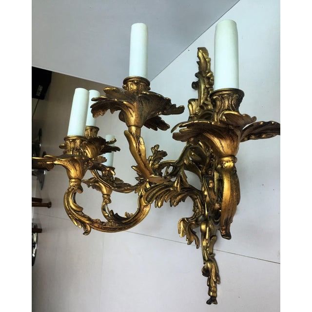 French 19th Century Gilded Bronze Wall Sconces For Sale - Image 4 of 12