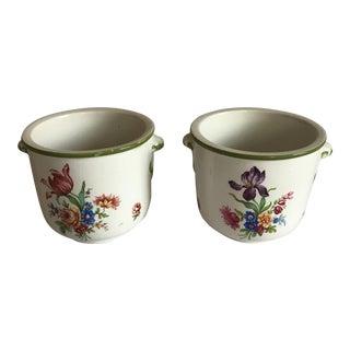 Italian Ceramic Floral Cachepots - A Pair