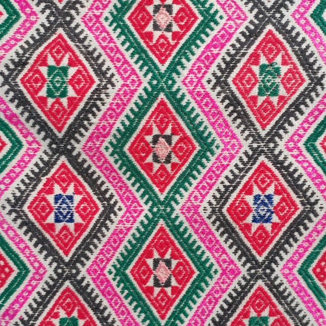 Vintage fabric in pink, white, green, red, and charcoal. Authentic Mongolian & Chinese vintage Miao wedding blanket...