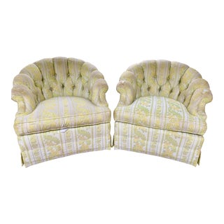 1960s W & J Sloane Shabby Chic Tub Chairs on Coasters With Original Striped Floral Upholstery - a Pair For Sale