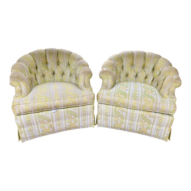 1960s W & J Sloane Shabby Chic Tub Chairs With Casters & Original Upholstery - a Pair For Sale