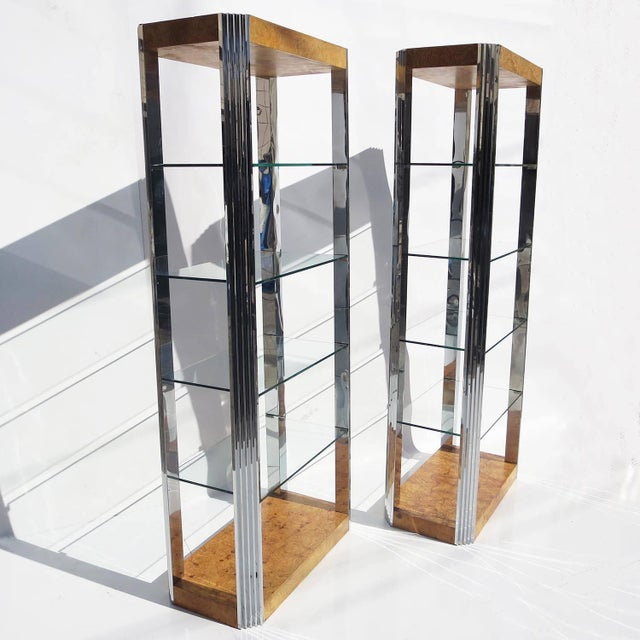 Paul Evans 1970s Burled Wood and Polished Aluminum Midcentury Etagere For Sale - Image 4 of 5