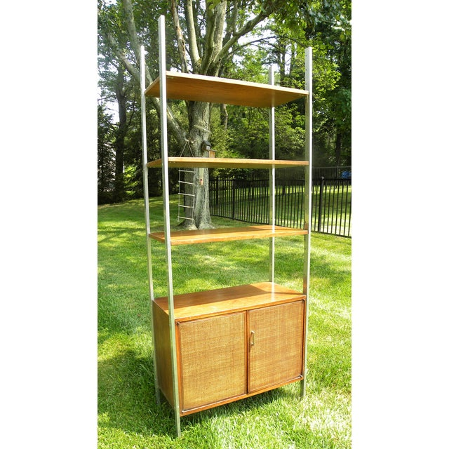 Mid-Century Modern Vintage Mid-Century Chrome and Walnut Wall Unit For Sale - Image 3 of 9