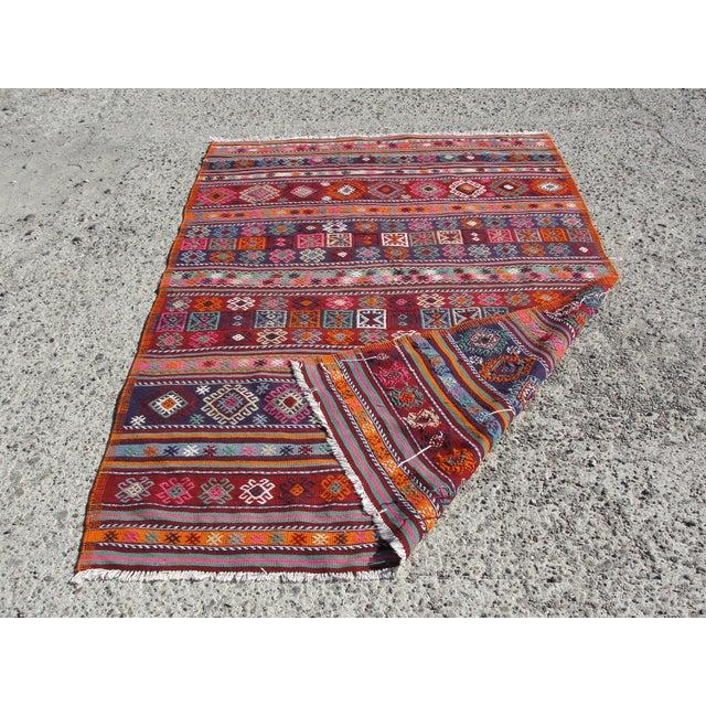 Vintage Turkish Kilim Rug - 4′12″ × 7′9″ For Sale - Image 11 of 11