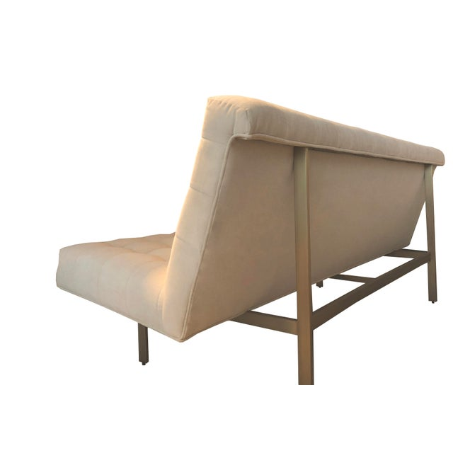Milo Baughman for Thayer Coggin Modern Brushed Bronze Base Armless Sofa For Sale - Image 4 of 7