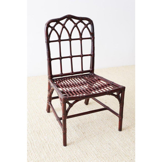 Set of Four McGuire Lacquered Bamboo Dining Chairs For Sale - Image 10 of 13