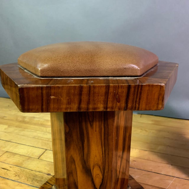 Brown Pair Hexagonal Rosewood and Brass Stool, France 1960s For Sale - Image 8 of 11