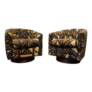 African Fabric Mid Century Swivel Club Chairs a Pair For Sale