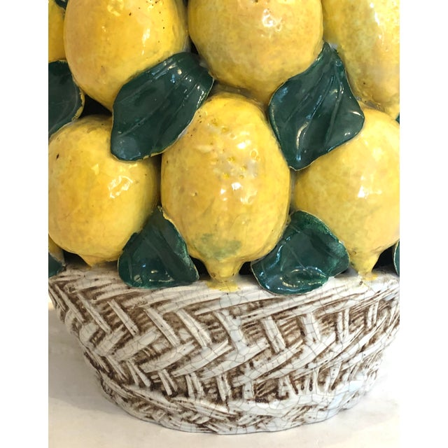 """Italian Ceramic Giant Lemon Topiary in Basket, Centerpiece, 28"""" High For Sale - Image 4 of 12"""