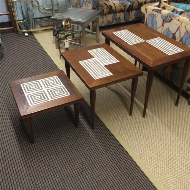 MCM Tile & Walnut Stacking Tables - Image 8 of 9