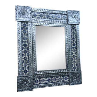 Tin & Tile Mirror Made in Mexico For Sale