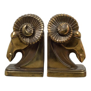 Art Deco Ram's Head Bookends C.1930 For Sale