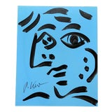 Image of Original Vintage Signed Peter Robert Keil Abstract Painting, Blue Face For Sale