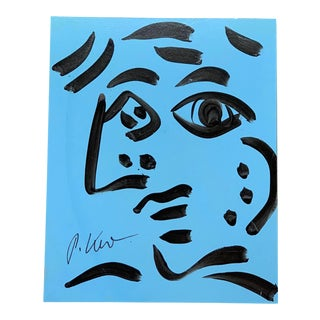 Original Vintage Signed Peter Robert Keil Abstract Painting, Blue Face For Sale