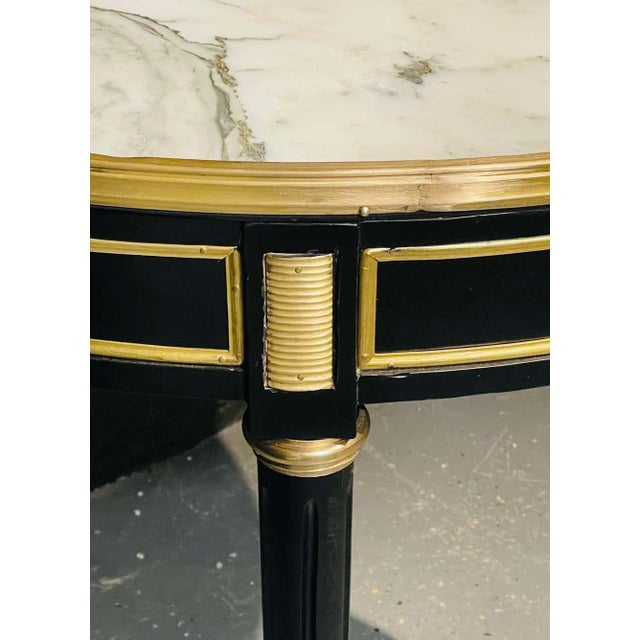 Bronze Pair of Maison Jansen Style Bouillotte or End Tables, Ebony Bronze Marble Top For Sale - Image 8 of 13