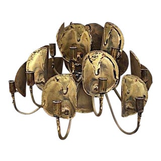 Tom Green for Feldman Brutalist Brass Chandelier For Sale