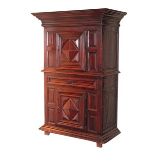 "Mid-18th Century French Louis XIII Walnut ""Homme-Debout"" Cabinet For Sale"