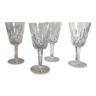 1950s Waterford Crystal White Wine Glasses in Lismore Pattern - Set of 4 For Sale