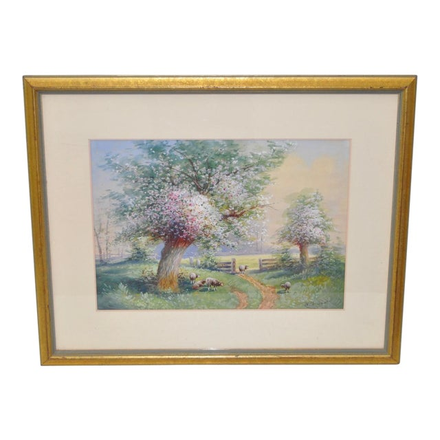 1940s Flowering Country Landscape Watercolor by W.T. Scott For Sale