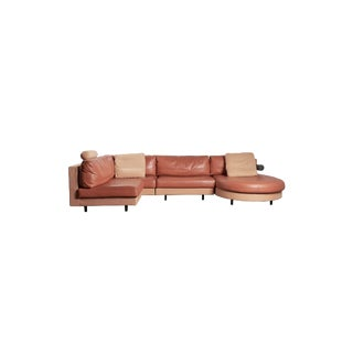 """1980s 4-Piece """"Sity"""" Sectional Sofa in Terracotta Leather by Citterio for B&b Italia For Sale"""