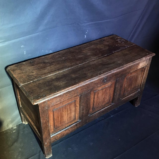 17th Century Antique English Paneled Oak Coffer Blanket Chest For Sale - Image 5 of 13