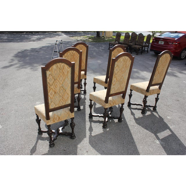 Brown 1900s Vintage French Louis XIII Style Dining Chairs - Set of 6 For Sale - Image 8 of 13