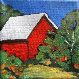 Lynne French Miniature Plein Air Red Barn Painting For Sale