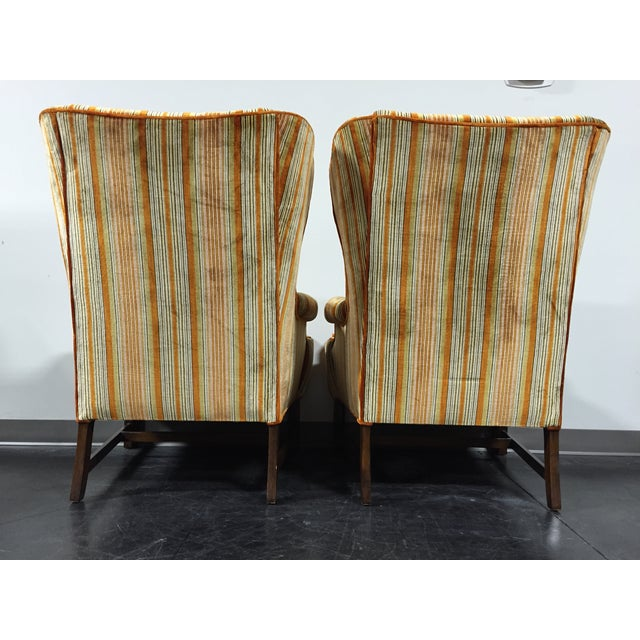 Vintage Mid-Century Tufted Wing Back Chairs - Pair - Image 5 of 11