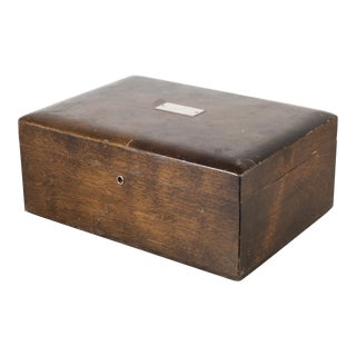 Vintage Walnut Humidor With Silver Nameplate C.1940-1970 For Sale