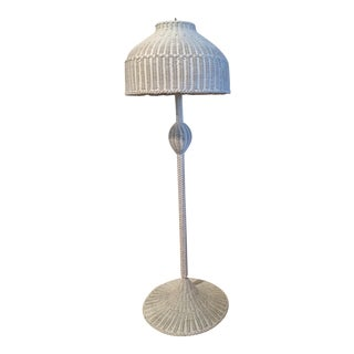 Vintage White Wicker Floor Lamp and Shade For Sale