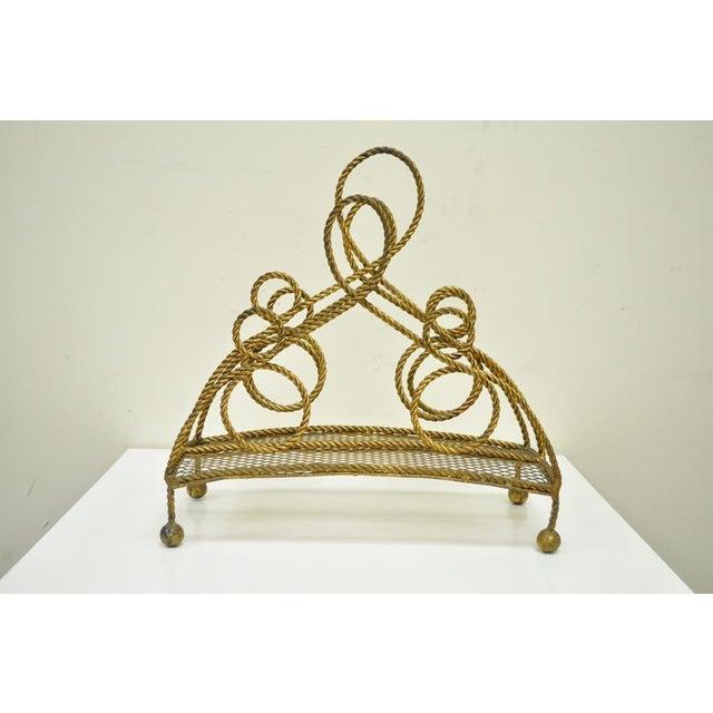 Gold Vintage Italian Hollywood Regency Gold Gilt Iron Rope Tole Magazine Holder For Sale - Image 8 of 11