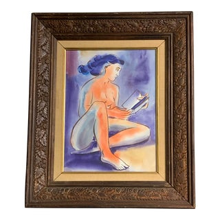 Vintage Nude Painting, Female Reading Book 1970's For Sale