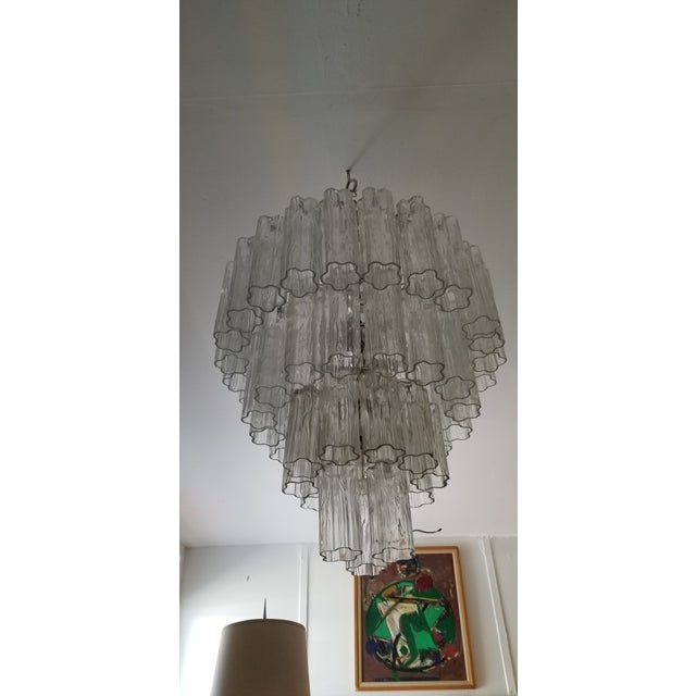 """Metal Vintage Italian """" Tronchi """" Murano Glass Chandelier by Venini. For Sale - Image 7 of 13"""
