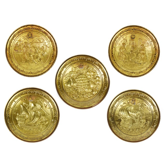 Vintage England Scene Embossed Brass Wall Hanging Tray Plate, England - 5 Pieces For Sale - Image 11 of 12
