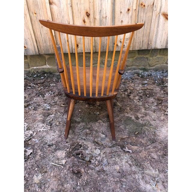 Modern Nakashima Studio Mixed Wood Lounge Rocking Chair For Sale - Image 9 of 13