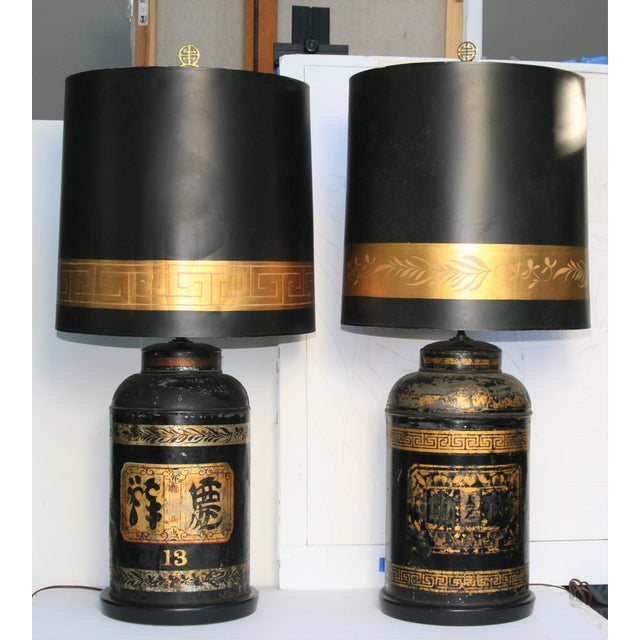 Late 19th Century Antique Chinoiserie Metal Tea Canister Lamps - A Pair For Sale - Image 13 of 13