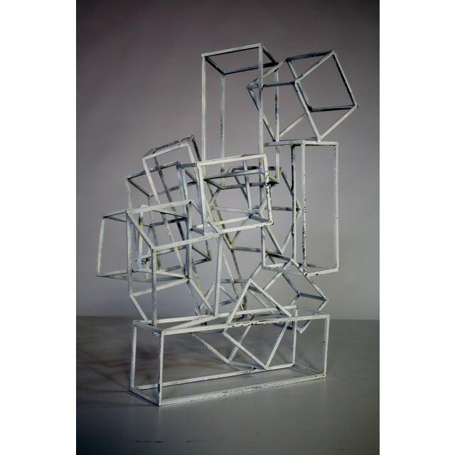 Geometric Metal Boxes Sculpture - Image 5 of 7