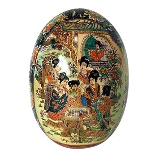 Large Chinoiserie Asian Ceramic Large Hand Painted Egg For Sale