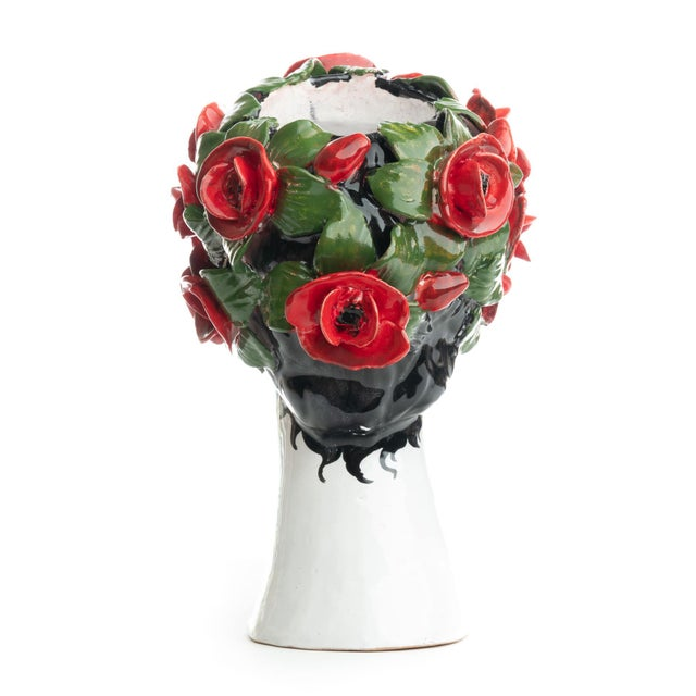 Modern Sculpture with Roses, Ceramiche D'arte Dolfi For Sale - Image 3 of 12