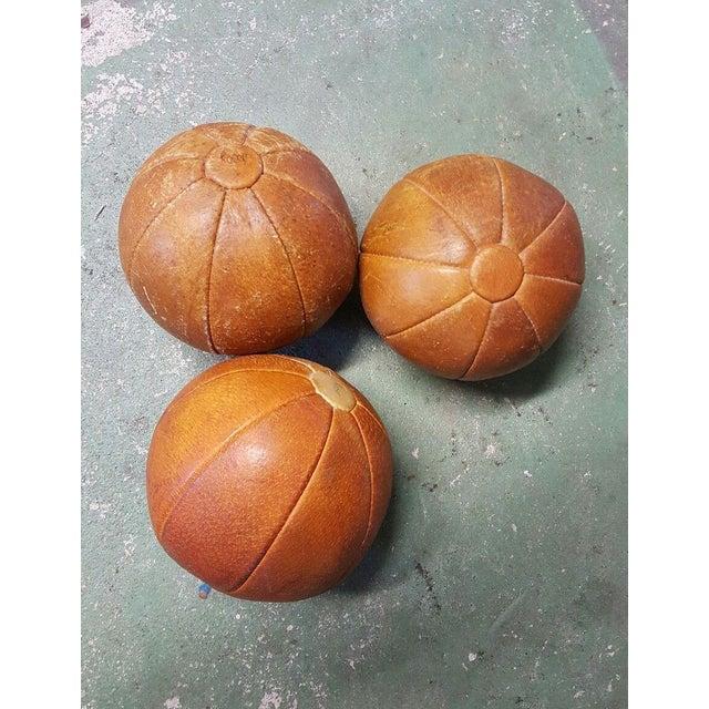 Leather Vintage German Medicine Balls, 1950s - Set of 3 For Sale - Image 5 of 5