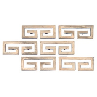 Mid Century Greek Key Hardware - Set of 6 For Sale