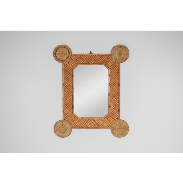 1970s Bamboo and Rattan Mirror by Arpex For Sale - Image 6 of 9