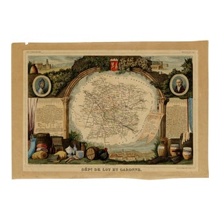 Antique Map From the South Western Region of France (1852) For Sale