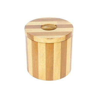 Modernist Striped Wood Ice Bucket
